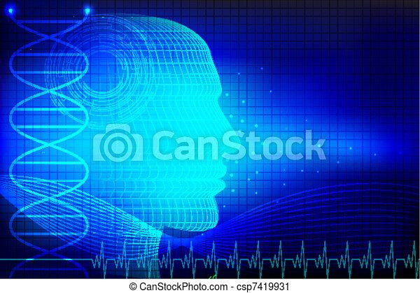 głowa, ludzki, medyczny, tło - csp7419931