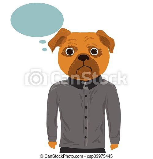 głowa, pies, człowiek - csp33975445