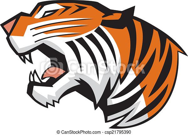 głowa, tiger, wektor, ryk, widok budynku - csp21795390