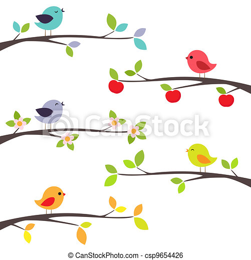 gałęzie, ptaszki - csp9654426