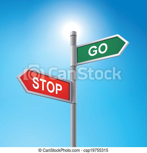 gadka, zatrzymajcie znaczą, iść, droga, 3d - csp19755315