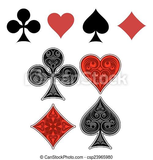 garnitur, grając kartę, ikony - csp23965980