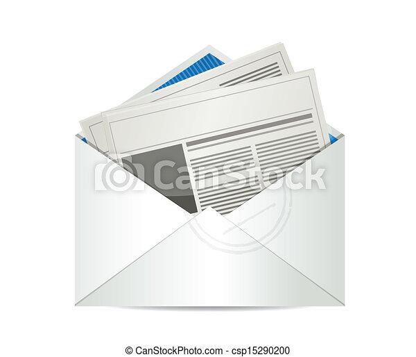 gazeta, poczta, projektować, ilustracja - csp15290200
