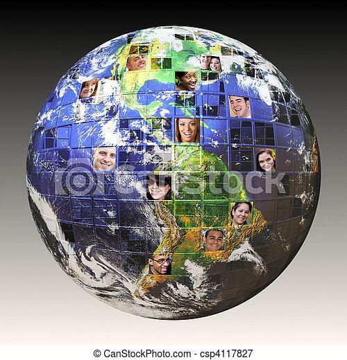 globalny, ludzie, sieć - csp4117827