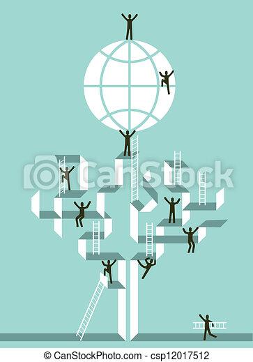 globalny, powodzenie, klatka schodowa, handlowy - csp12017512