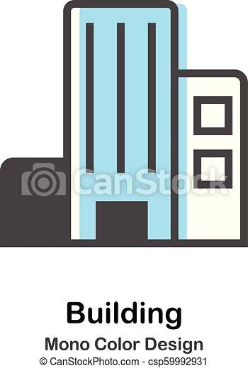 gmach, farba mono, ilustracja - csp59992931
