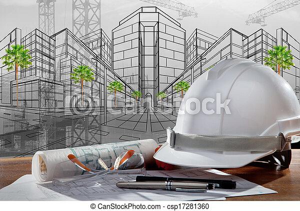 gmach, hełm, bezpieczeństwo, scena, pland, drewno, architekt, rząd, stół, zbudowanie, zachód słońca - csp17281360
