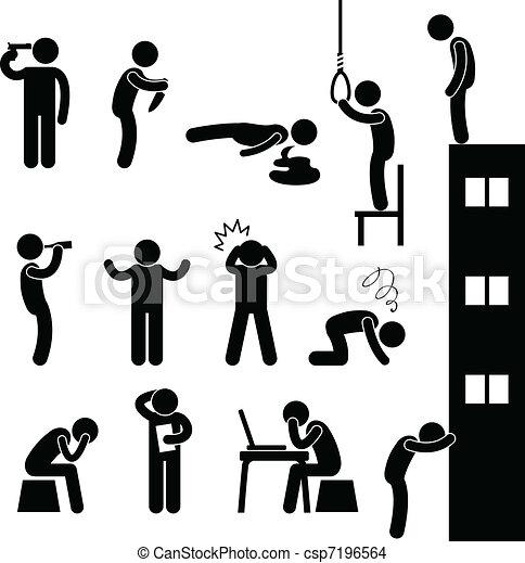 gnębić, samobójstwo, ludzie, smutny, zabić, człowiek - csp7196564