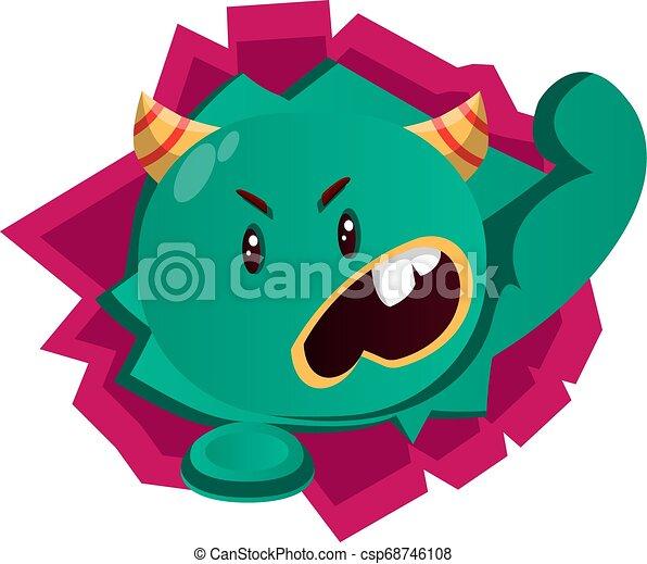 gniewny, wektor, zielony potwór, ilustracja - csp68746108