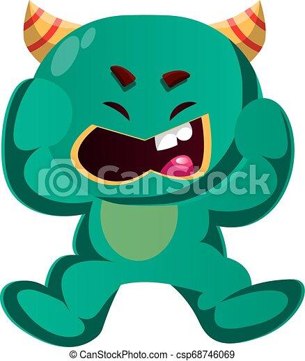 gniewny, wektor, zielony potwór, ilustracja - csp68746069