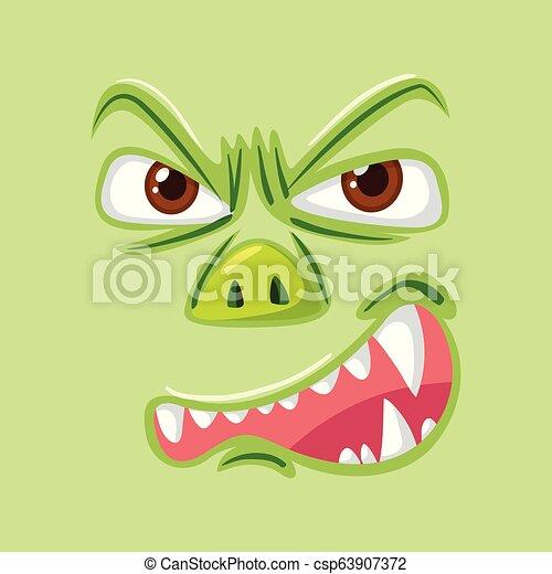 gniewny, zielony potwór, twarz - csp63907372
