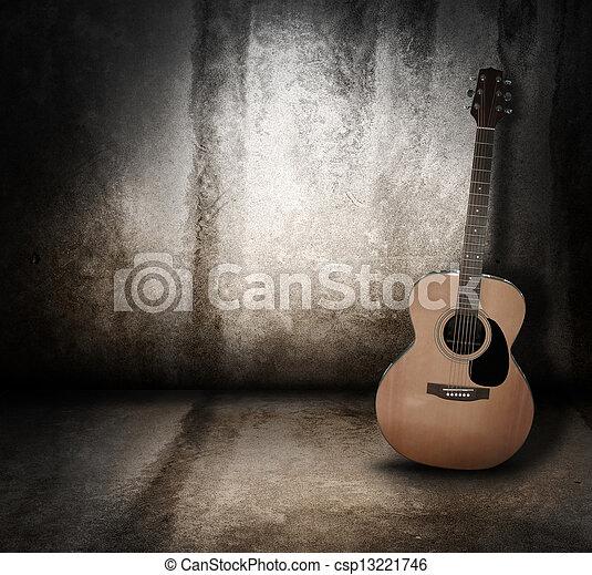grunge, akustyczny, tło, muzyka, gitara - csp13221746