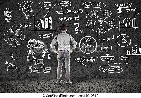 grunge, handlowy, ściana, plan, garnitur, biznesmen - csp14912512