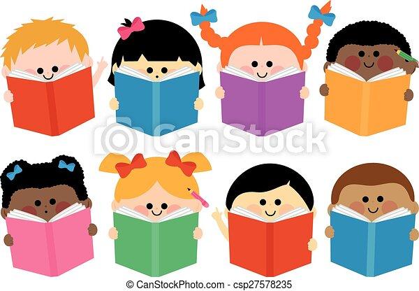 grupa, books., ilustracja, wektor, czytanie, dzieci - csp27578235