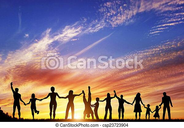 grupa, ludzie, rodzina, razem, ręka, rozmaity, przyjaciele, drużyna, szczęśliwy - csp23723904