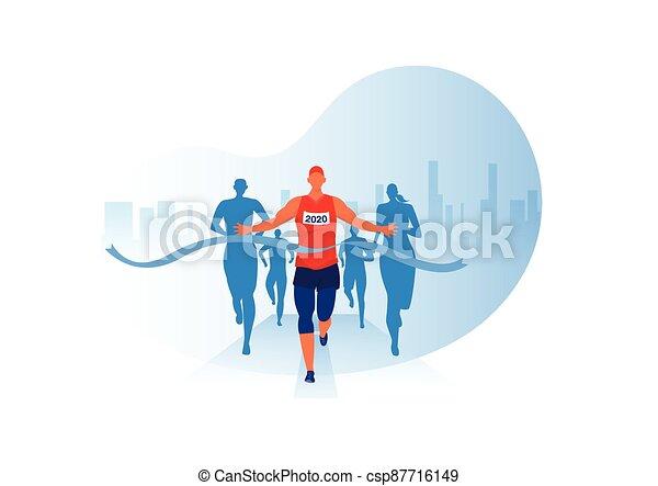 grupa, projektować, wektor, odzież, lekkoatletyka, tło, maraton, prąd, atletyka, wyścigi, ludzie, wypadek, jogging, miasto - csp87716149
