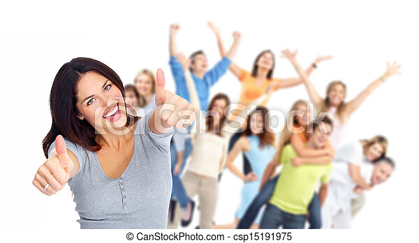 grupa, szczęśliwy, portrait., młodzież - csp15191975