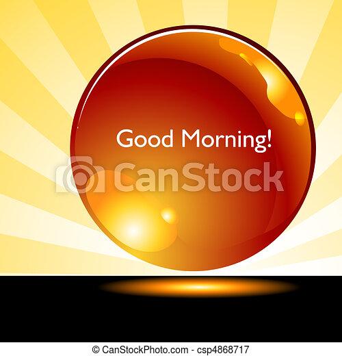 guzik, dobry, wschód słońca, tło, rano - csp4868717