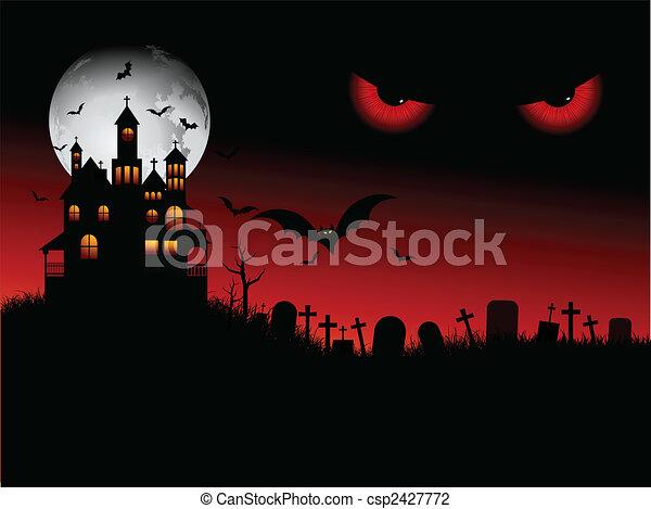 halloween, spooky, scena - csp2427772