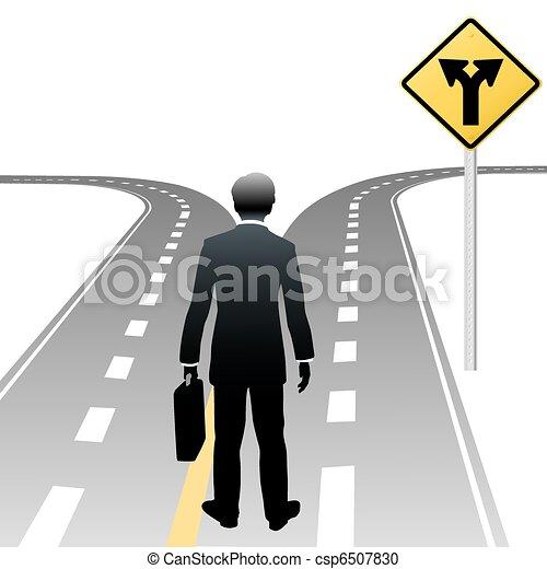 handlowa decyzja, znak, osoba, kierunki, droga - csp6507830