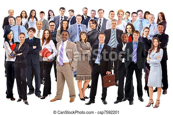handlowy, na, tło, odizolowany, ludzie., grupa, biały - csp7592201