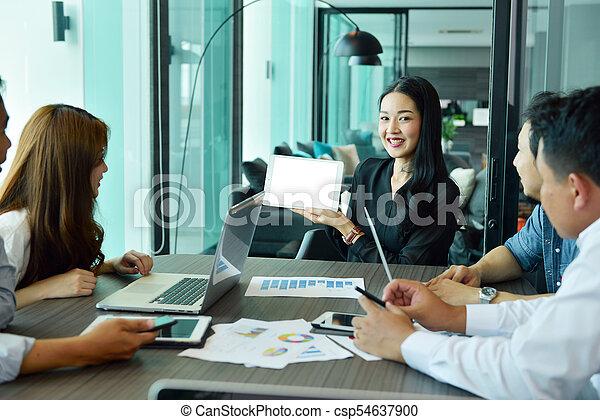 handlowy, tabliczka, pokaz, asian, czysty, dziewczyna, ekran - csp54637900
