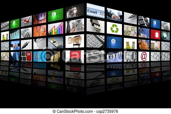 handlowy, telewizja, cielna osłaniają, internet, poduszeczka - csp2735976