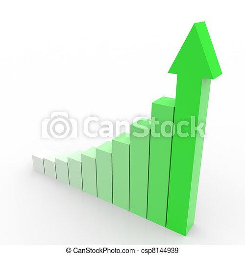 handlowy, wykres, do góry, arrow., chodzenie, zielony - csp8144939