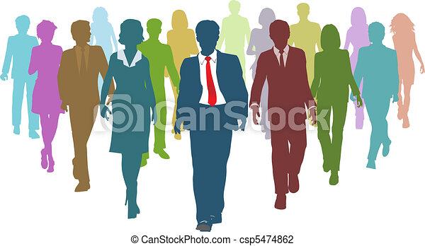 handlowy zaludniają, rozmaity, ludzki, zaprzęg lider, zasoby - csp5474862