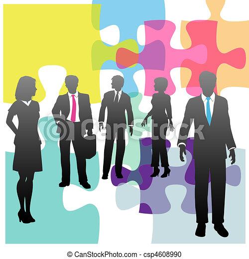 handlowy zaludniają, zagadka, rozłączenie, ludzki, problem, zasoby - csp4608990