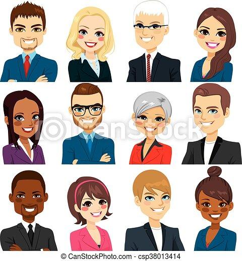 handlowy, zbiór, ludzie, avatar, komplet - csp38013414