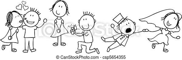 historia, ślub, deska, rysunek - csp5654355