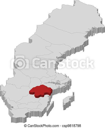 hrabstwo, mapa, highlighted, oestergoetland, szwecja - csp9818798