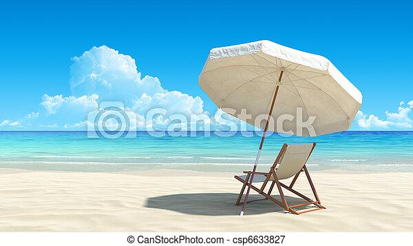 idylliczny, parasol, tropikalny, piasek, krzesło, plaża - csp6633827