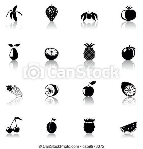 ikona, czarnoskóry, owoce - csp9978072