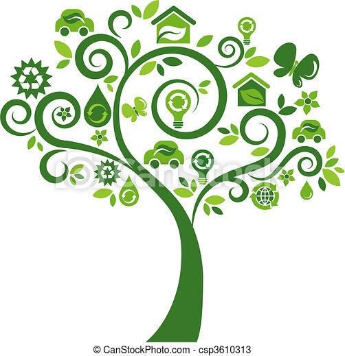 ikony, drzewo 2, -, ekologiczny - csp3610313