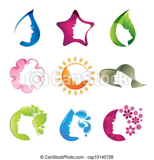 ikony, komplet, piękno - csp10140728