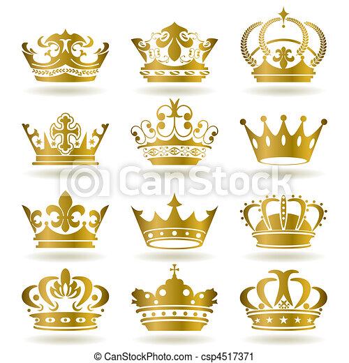 ikony, komplet, złota korona - csp4517371