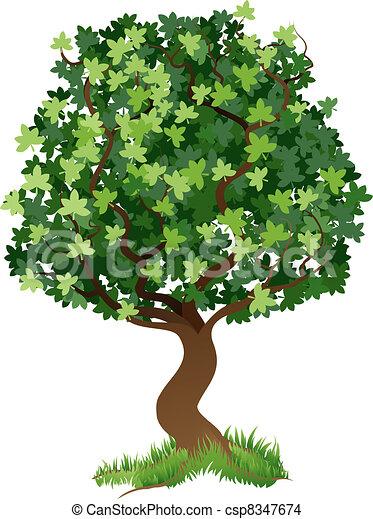 ilustracja, drzewo - csp8347674