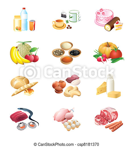 jadło robią zakupy, ikony - csp8181370