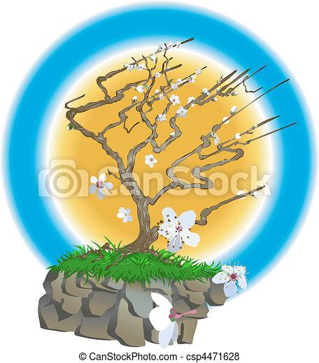 japończyk, ilustracja, drzewo - csp4471628