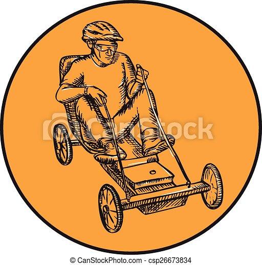 jeżdżenie, soapbox, jeździec, akwaforta - csp26673834