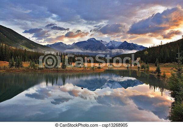 kanada, góry, śnieg, jezioro, las, przeziębienie - csp13268905