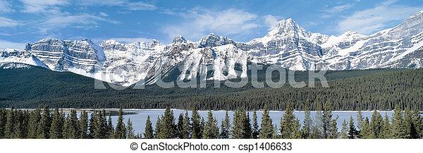 kanada, góry, columbia, skalisty, brytyjski, panoramiczny prospekt - csp1406633