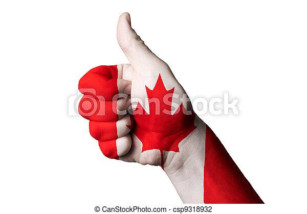 kanada, kciuk, krajowy, do góry, bandera, doskonałość, gest, osiągnąć - csp9318932