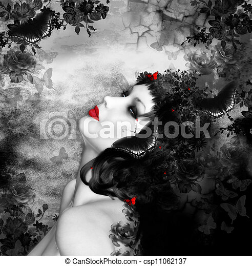 kaprys, motyle, kobieta - csp11062137