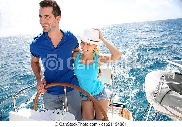 karaibski, żeglując, para, jacht, młody, morze - csp21134381