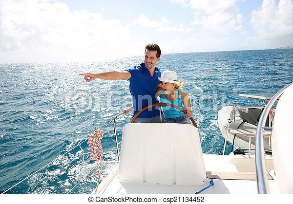 karaibski, żeglując, para, jacht, młody, morze - csp21134452