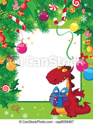 kartka na boże narodzenie, smok - csp8058467
