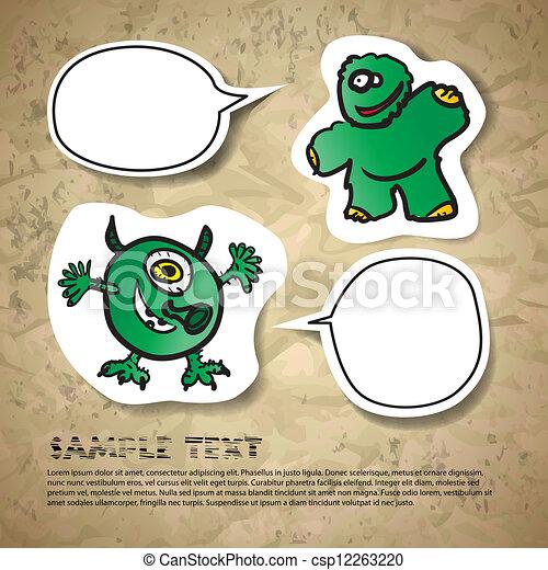 kartka pocztowa, zabawny, zielony potwór - csp12263220